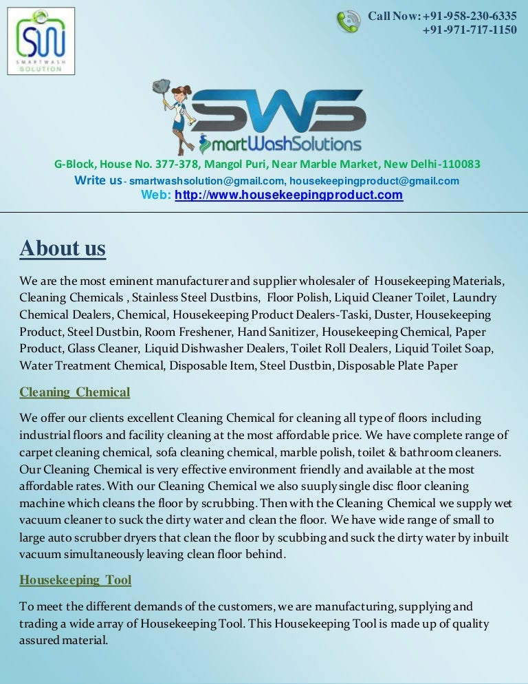 . Housekeeping Products   Material and Cleaning Chemicals Price List