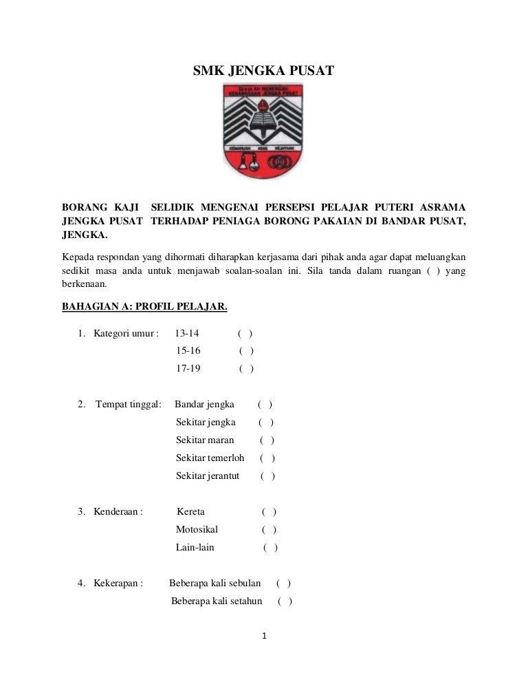 Contoh Borang Kaji Selidik Pengajian Am Stpm Penggal 2