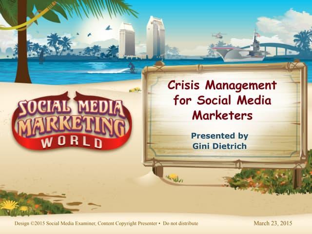 Social Media Marketing World Crisis Management