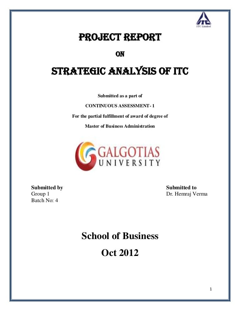 Strategic Analysis Of Itc