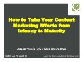 How to Take Your Content Marketing Efforts from Infancy to Maturity