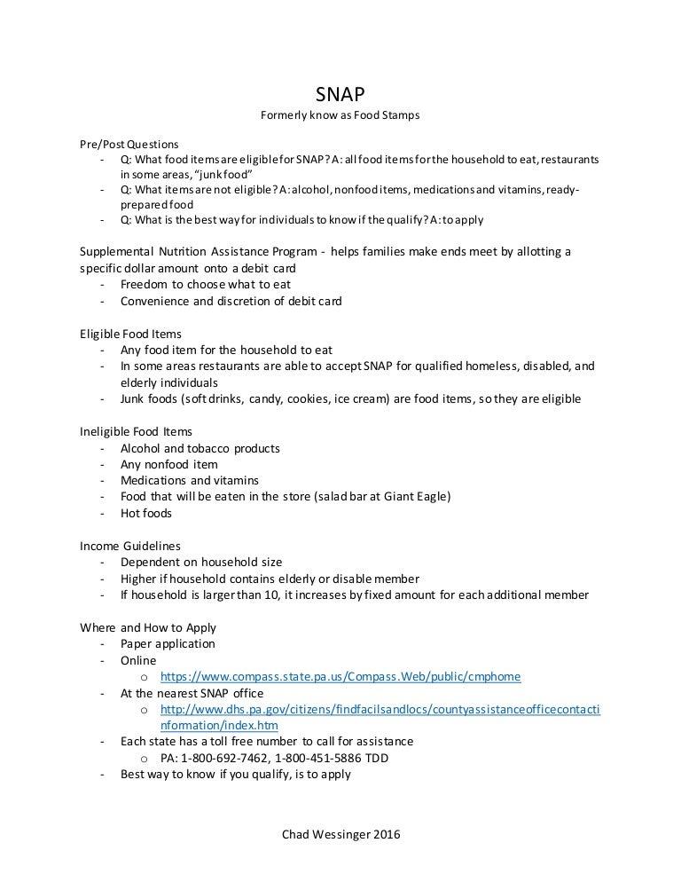Snap Information Handout