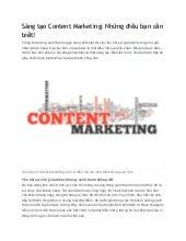 Sáng tạo content marketing  những điều bạn cần biết!