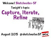 Sketchnotes-SF Meetup :: Round 21 :: Capture, Iterate, Refine [Wed Aug 19, 2015]