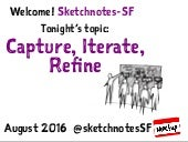 Sketchnotes-SF Meetup :: Round 27 :: Capture, Iterate, Refine [Thu Aug 11, 2015]