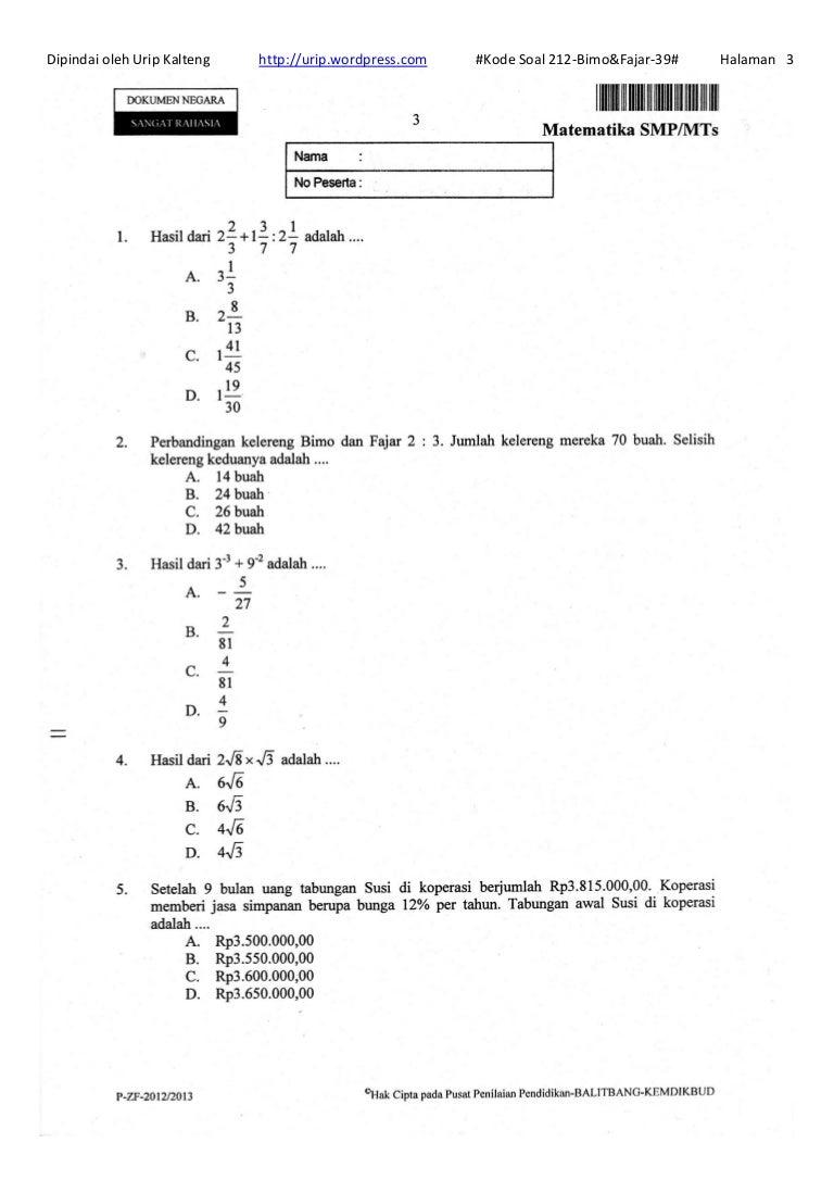 Soal Un Matematika Smp 1