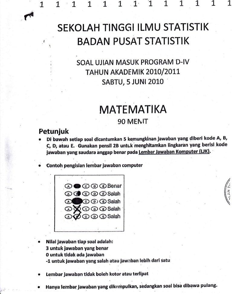 Kumpulan soal ujian masuk stis (sekolah ilmu tinggi statistika.