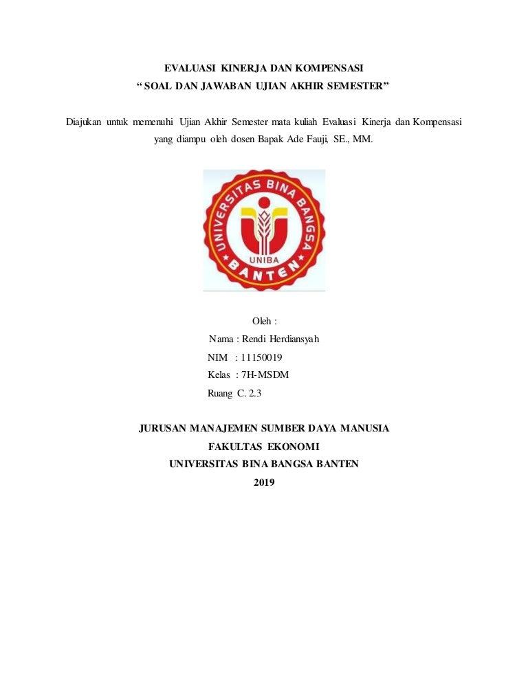 Soal Dan Jawaban Uas Rendi Herdiansyah 11150019