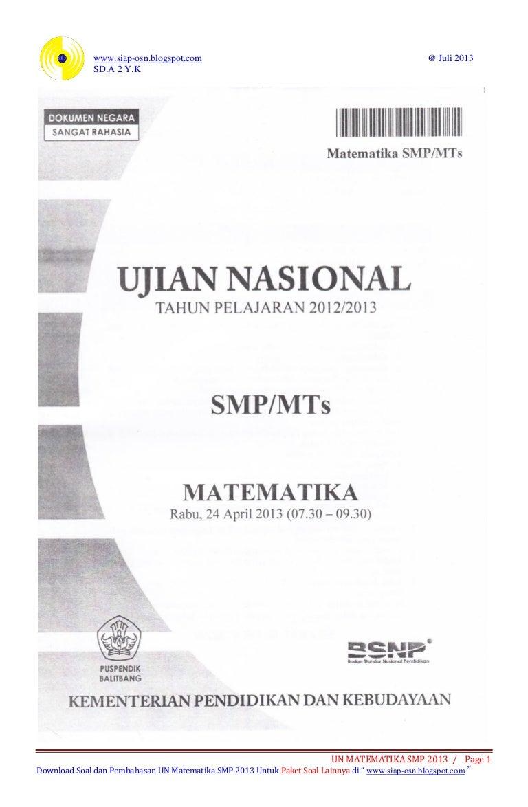 Soal Dan Pembahasan Ujian Nasional Matematika Smp 2013