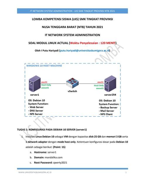 Soal Linux Actual - ITNSA LKS SMK Tingkat Provinsi NTB 2021