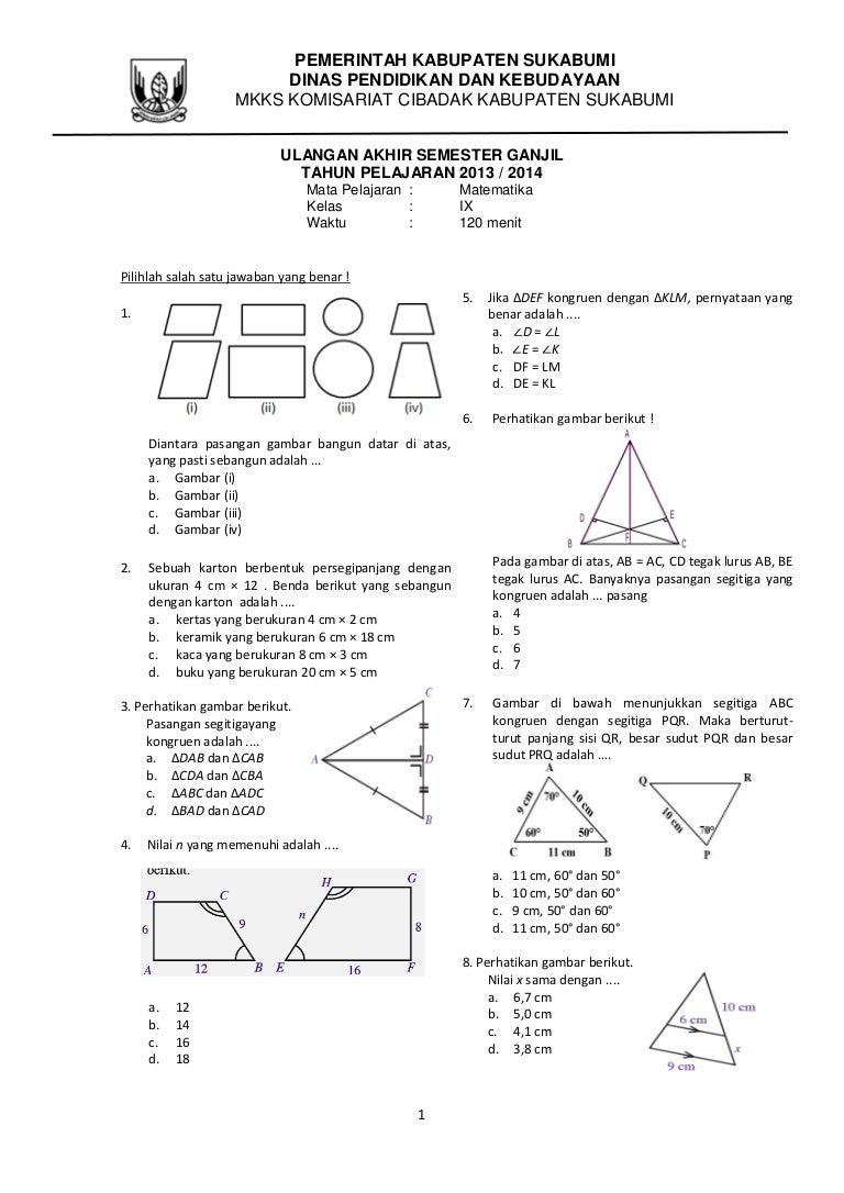 Soal matematika kelas 9 ccuart Images
