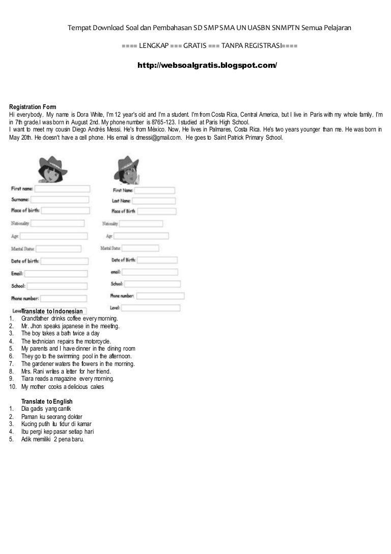 Soal Bahasa Inggris Cara Mengisi Formulir Dan Menterjemahkan