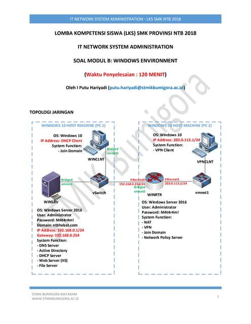 Soal Modul B Windows Environment LKS SMK NTB 2018