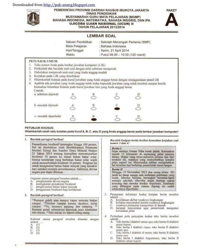 Soal Prediksi Dan Bocoran Un Bahasa Indonesia Smp 2014 Kunci Jawaban