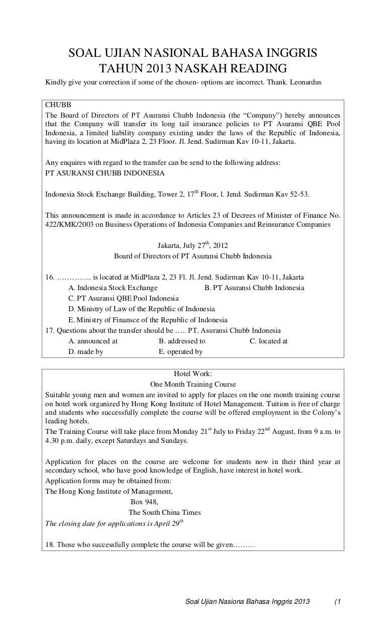 Soal Ujian Nasional Bahasa Inggris Tahun 2013 Naskah Reading
