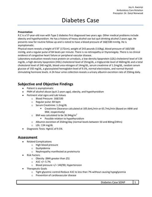 Diabetes SOAP Note Exercise