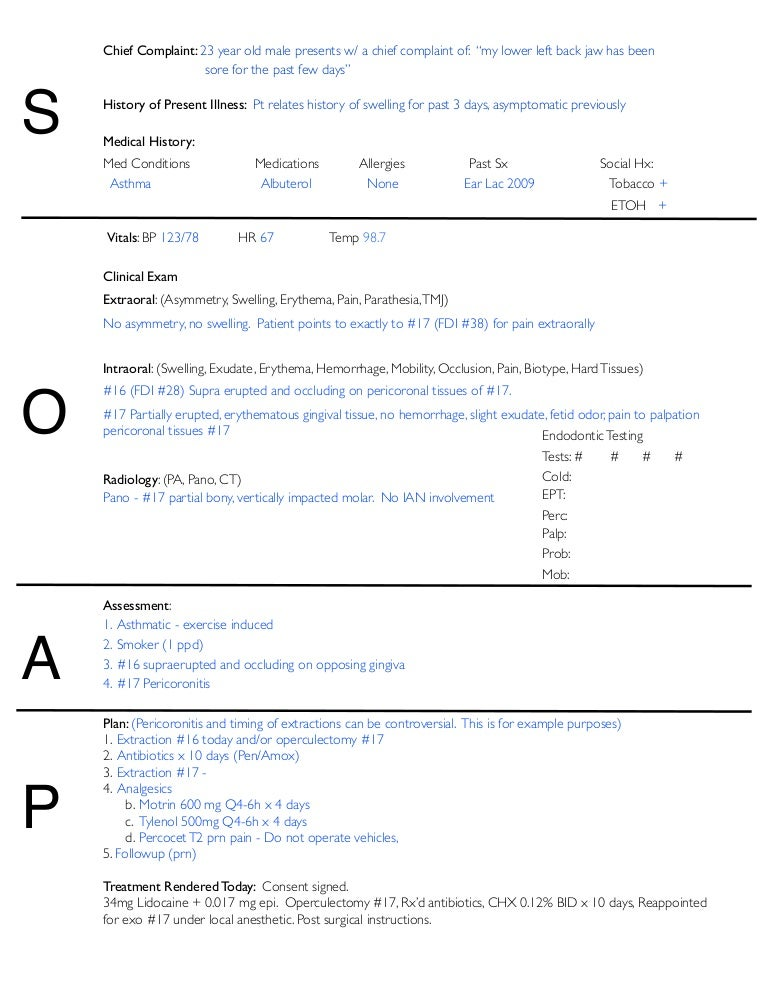 Soap Notes Dentistry Example