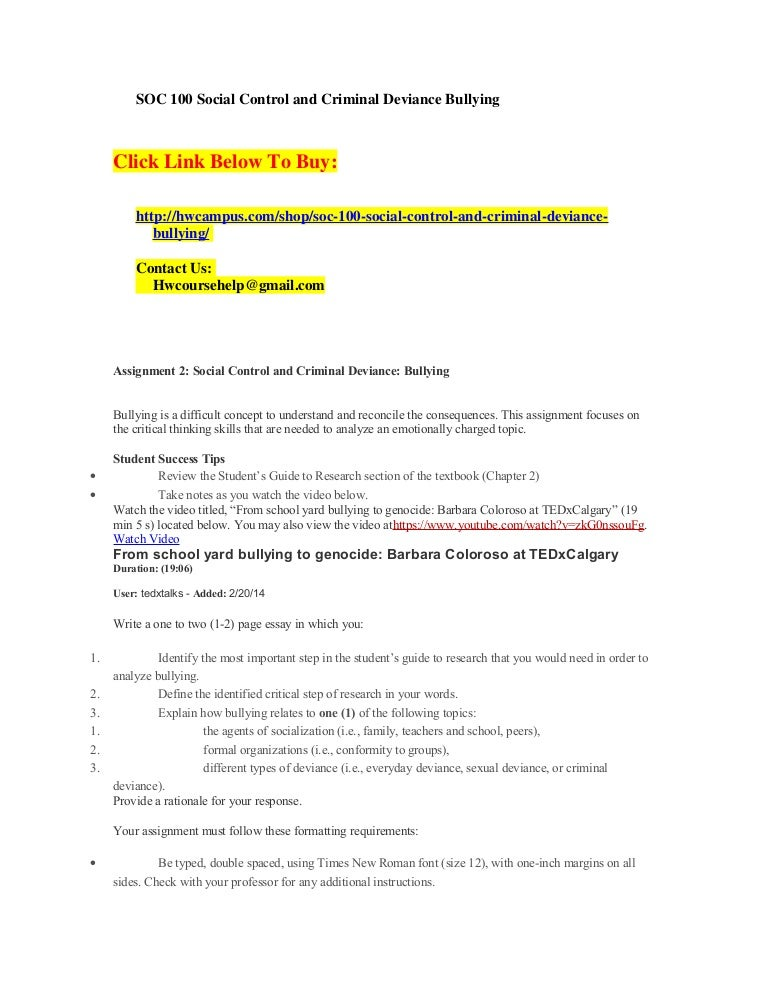 assignment 2 social control and criminal deviance bullying