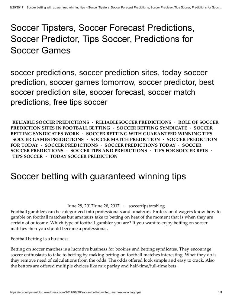 Soccer betting with guaranteed winning tips