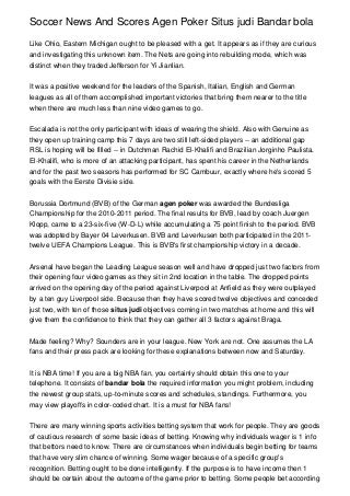 Soccer News And Scores Agen Poker Situs judi Bandar bola