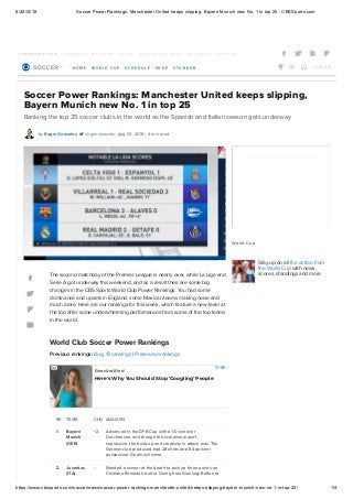 Soccer power rankings manchester united keeps slipping bayern munich new no 1 in top 25