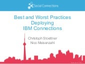 BEST AND WORST PRACTICES DEPLOYING IBM CONNECTIONS