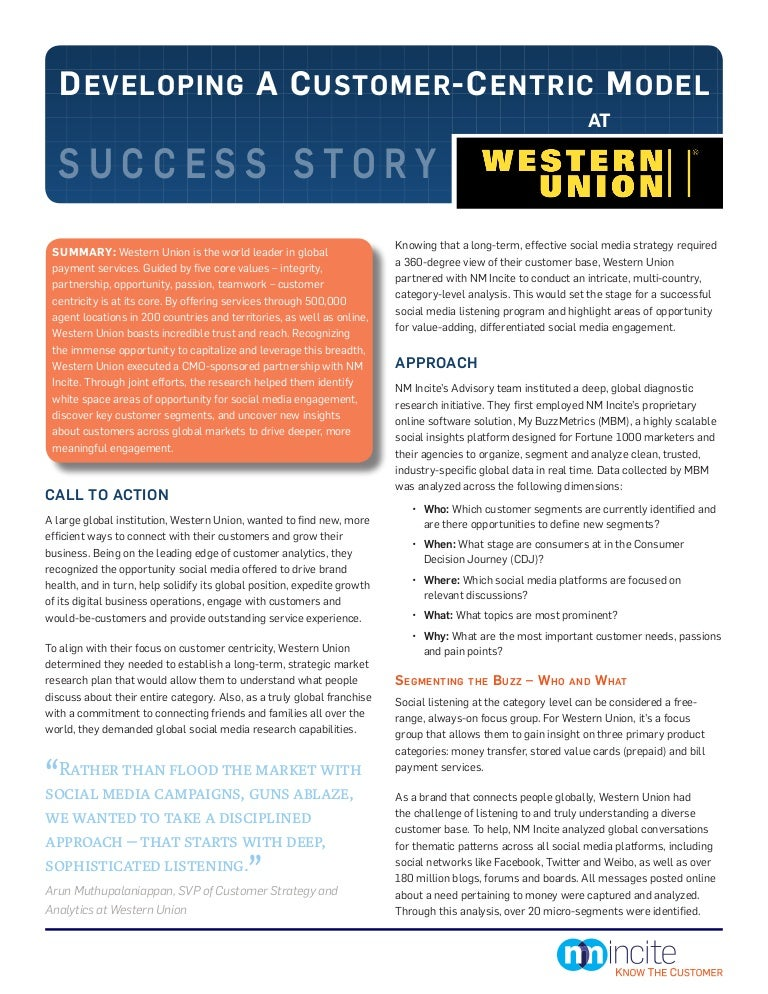 Developing a Customer-Centric Model at Western Union