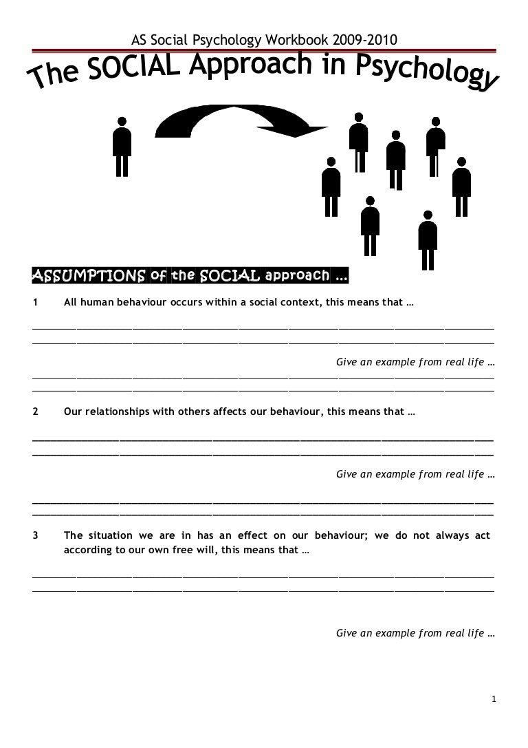 Workbooks psychology workbook : Social approach work book