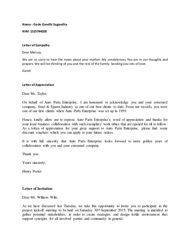 Social business letter