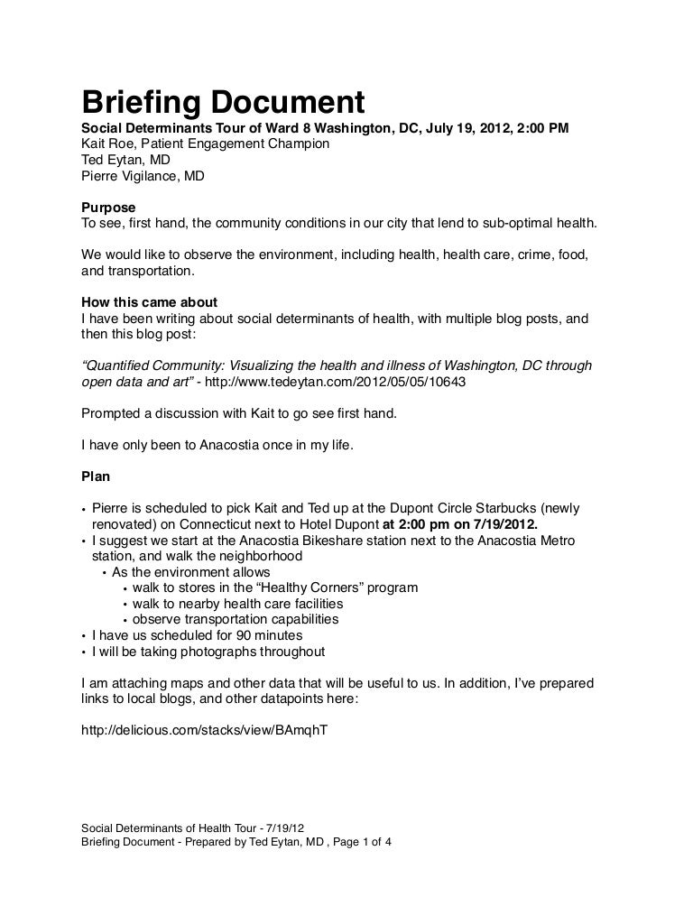 Social determinants tour briefing document