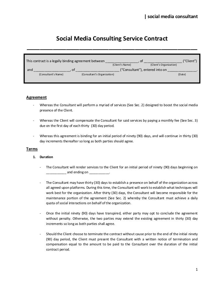 Social media consulting service contract to share for Monthly service contract template