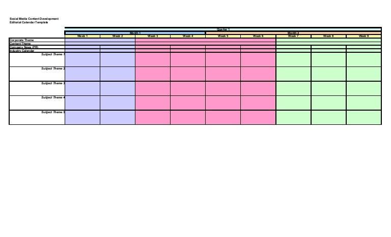 Social Media Content Editorial Calendar Template - Social media content calendar template