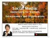 Social Media for Startups, Entrepreneurs and Organizations | Madison Public Library