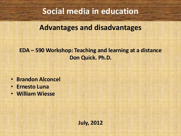 social media in education advantages disadvantages