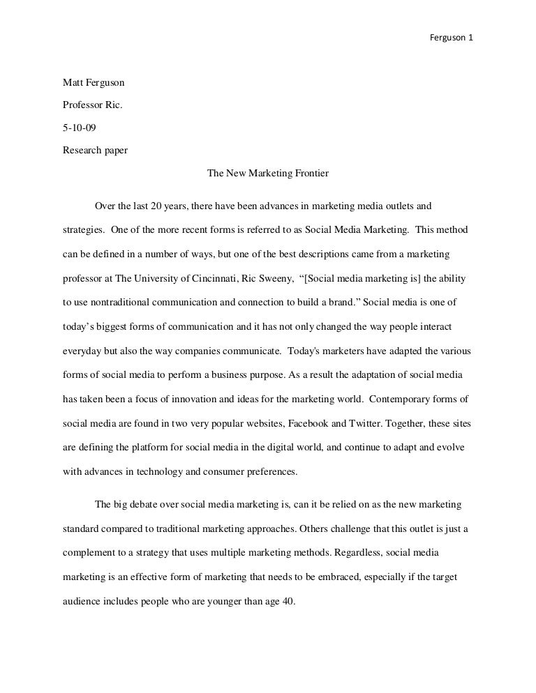 Essay On Social Networking Sites  Underfontanacountryinncom Essay On Social Networking Social Media Marketing Paper  Essay On  Types Of English Essays also Examples Of Proposal Essays  Help With Academic Writing