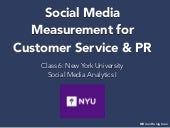 Social Media Measurement for Customer Service & Public Relations