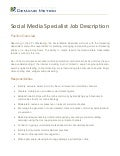Social Media Specialist Job Description