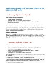 Social Media Strategy University of California Irvine 2014 weekwise objectives and assignments all 7 weeks