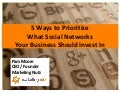 How to Prioritize Social Networks Your Business Should Invest In
