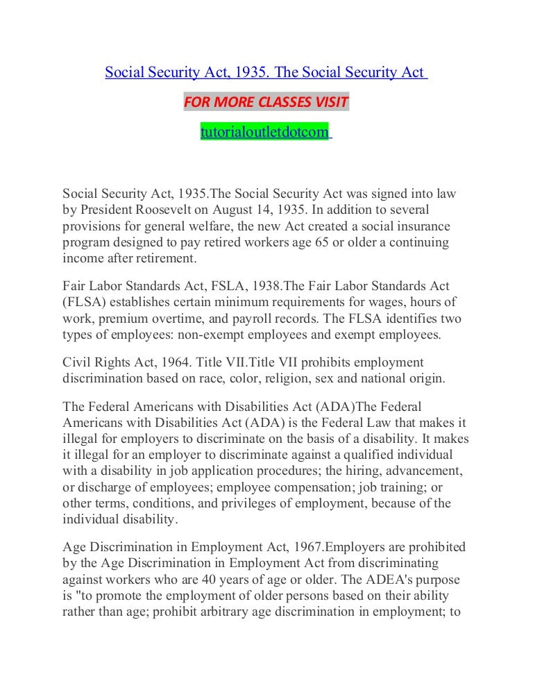 Social Security Act 1935 The Social Security Act