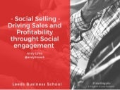 Social Selling - Driving Sales and Profitability through Social Engagement