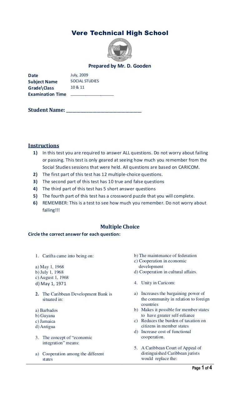 Social Studies Test 10,11