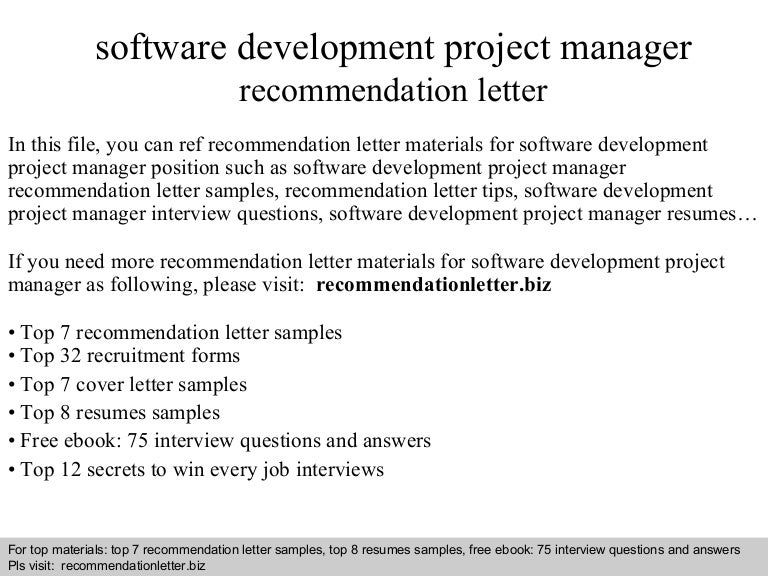 project manager recommendation sample