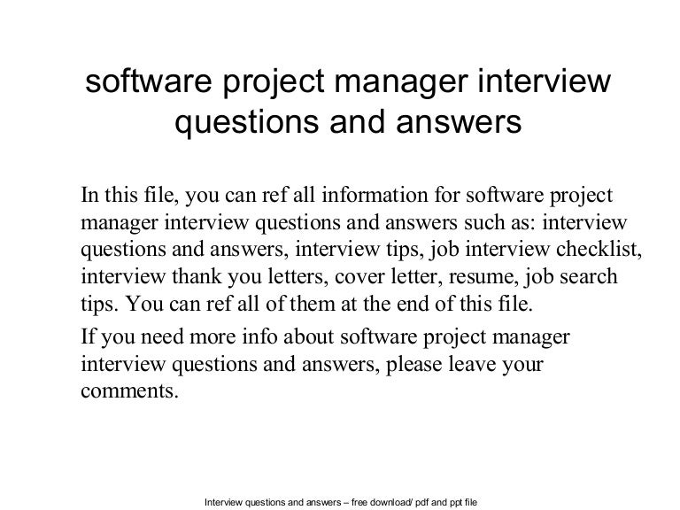 software project manager interview questions and answers