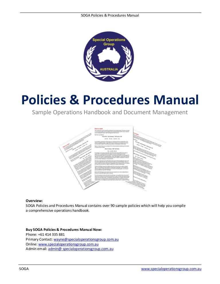 Soga Policies Procedures Manual Software Sample - Company procedures manual template