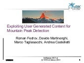 Exploiting User Generated Content for Mountain Peak Detection