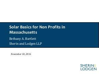 Solar Basics for Non Profits in Massachusetts