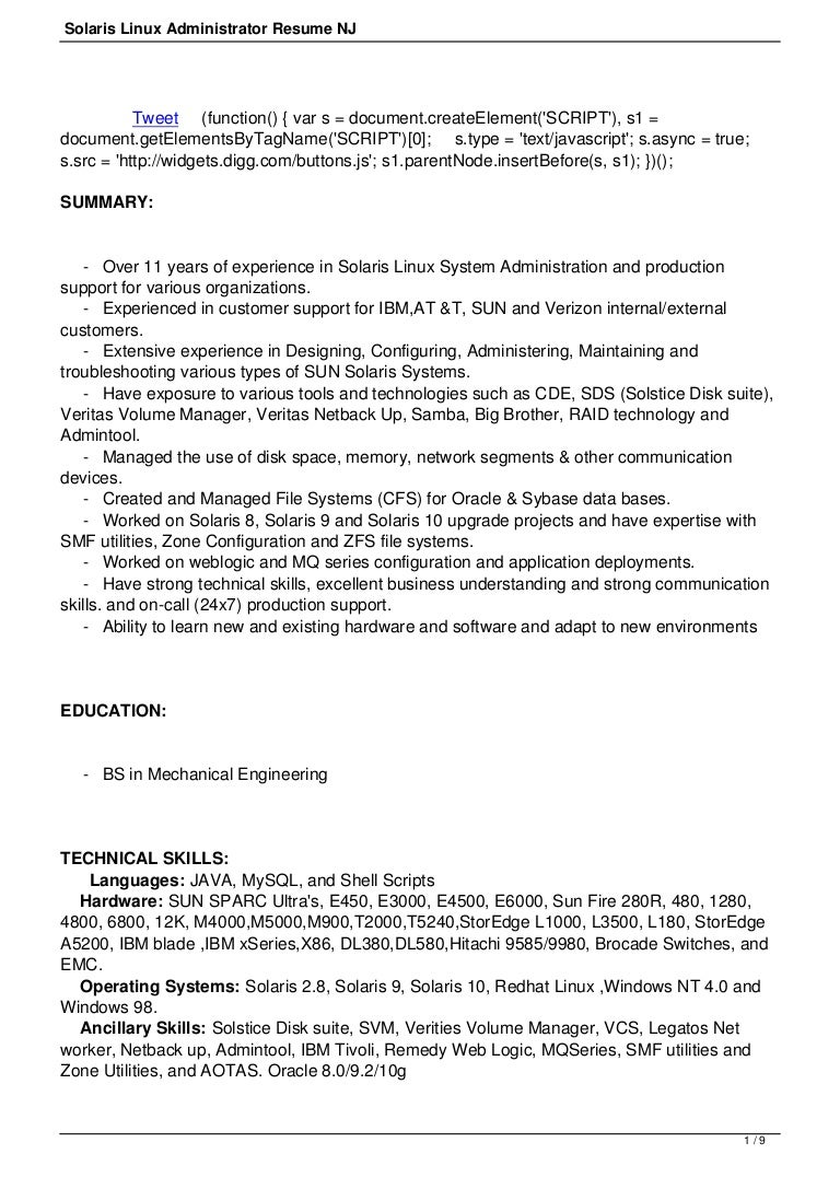 Linux System Administrator Resume Sample | Resume Samples and ...