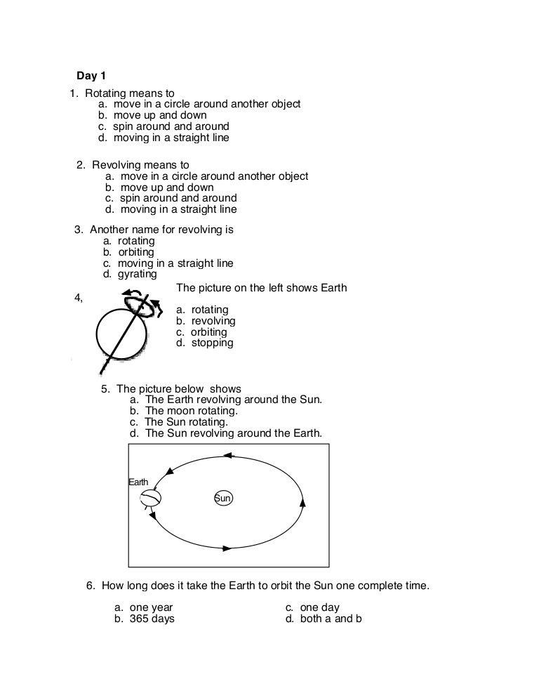 Rotation Vs Revolution Worksheet - Rringband