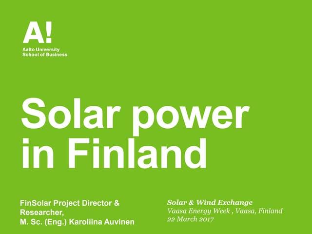 Solar power in Finland 2016-2017